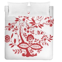 Red Vintage Floral Flowers Decorative Pattern Clipart Duvet Cover Double Side (queen Size)