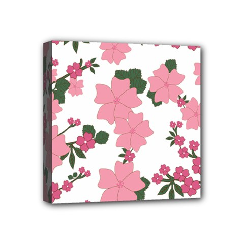 Vintage Floral Wallpaper Background In Shades Of Pink Mini Canvas 4  X 4
