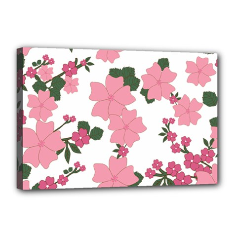 Vintage Floral Wallpaper Background In Shades Of Pink Canvas 18  X 12  by Simbadda