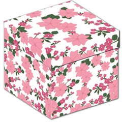 Vintage Floral Wallpaper Background In Shades Of Pink Storage Stool 12   by Simbadda