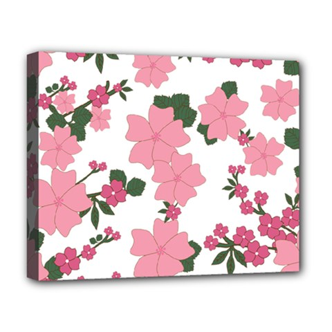 Vintage Floral Wallpaper Background In Shades Of Pink Deluxe Canvas 20  X 16   by Simbadda