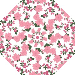 Vintage Floral Wallpaper Background In Shades Of Pink Hook Handle Umbrellas (large) by Simbadda