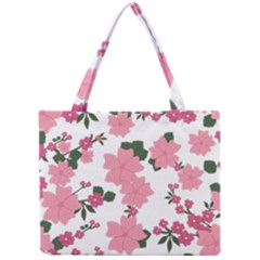 Vintage Floral Wallpaper Background In Shades Of Pink Mini Tote Bag by Simbadda
