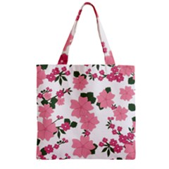 Vintage Floral Wallpaper Background In Shades Of Pink Zipper Grocery Tote Bag by Simbadda