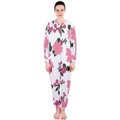 Vintage Floral Wallpaper Background In Shades Of Pink Onepiece Jumpsuit (ladies)