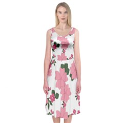 Vintage Floral Wallpaper Background In Shades Of Pink Midi Sleeveless Dress