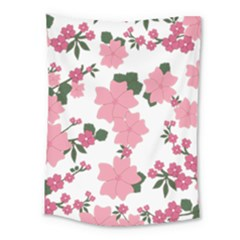 Vintage Floral Wallpaper Background In Shades Of Pink Medium Tapestry by Simbadda