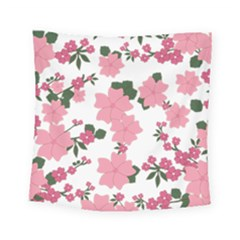 Vintage Floral Wallpaper Background In Shades Of Pink Square Tapestry (small) by Simbadda