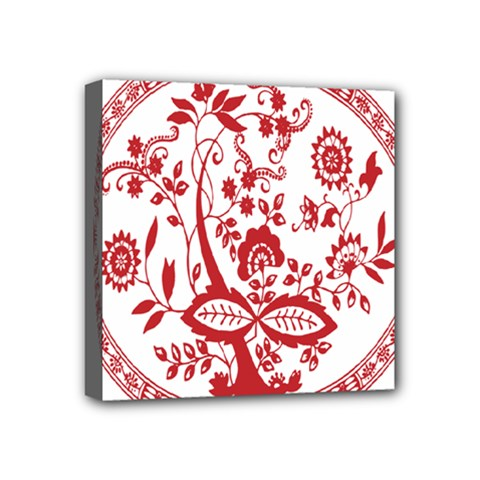 Red Vintage Floral Flowers Decorative Pattern Mini Canvas 4  X 4  by Simbadda