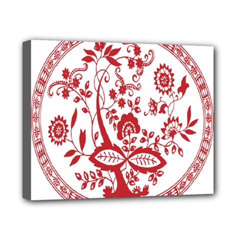 Red Vintage Floral Flowers Decorative Pattern Canvas 10  X 8