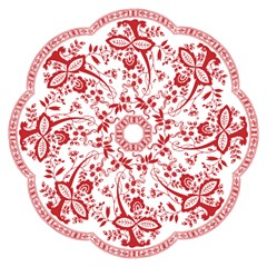 Red Vintage Floral Flowers Decorative Pattern Hook Handle Umbrellas (small)