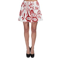 Red Vintage Floral Flowers Decorative Pattern Skater Skirt by Simbadda
