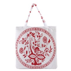 Red Vintage Floral Flowers Decorative Pattern Grocery Tote Bag