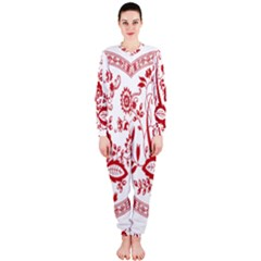 Red Vintage Floral Flowers Decorative Pattern Onepiece Jumpsuit (ladies)