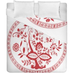 Red Vintage Floral Flowers Decorative Pattern Duvet Cover Double Side (california King Size) by Simbadda