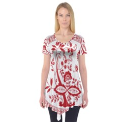 Red Vintage Floral Flowers Decorative Pattern Short Sleeve Tunic  by Simbadda