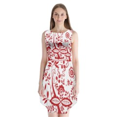 Red Vintage Floral Flowers Decorative Pattern Sleeveless Chiffon Dress