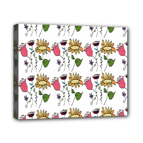 Handmade Pattern With Crazy Flowers Canvas 10  X 8  by Simbadda