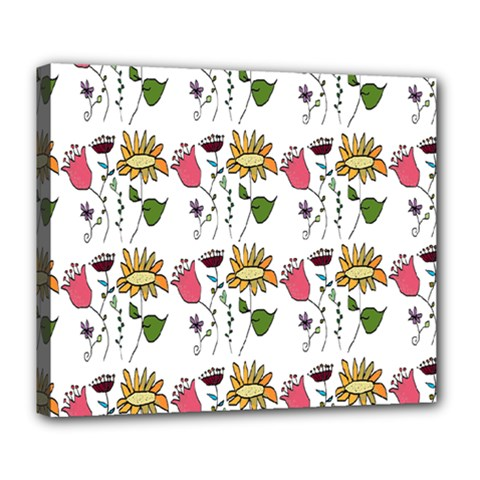 Handmade Pattern With Crazy Flowers Deluxe Canvas 24  X 20   by Simbadda