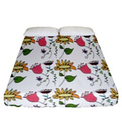 Handmade Pattern With Crazy Flowers Fitted Sheet (queen Size) by Simbadda
