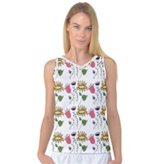 Handmade Pattern With Crazy Flowers Women s Basketball Tank Top by Simbadda