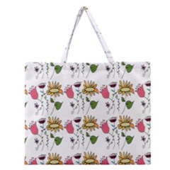 Handmade Pattern With Crazy Flowers Zipper Large Tote Bag by Simbadda