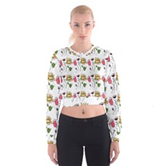 Handmade Pattern With Crazy Flowers Women s Cropped Sweatshirt