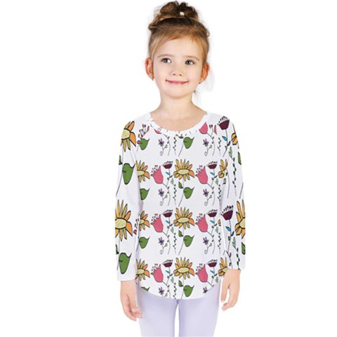 Handmade Pattern With Crazy Flowers Kids  Long Sleeve Tee by Simbadda