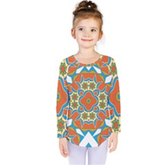 Digital Computer Graphic Geometric Kaleidoscope Kids  Long Sleeve Tee by Simbadda