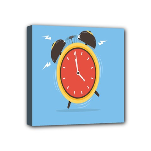 Alarm Clock Weker Time Red Blue Mini Canvas 4  X 4  by Alisyart