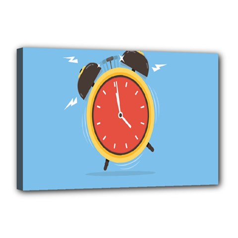 Alarm Clock Weker Time Red Blue Canvas 18  X 12  by Alisyart