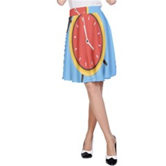 Alarm Clock Weker Time Red Blue A Line Skirt by Alisyart