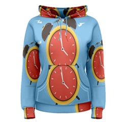Alarm Clock Weker Time Red Blue Women s Pullover Hoodie