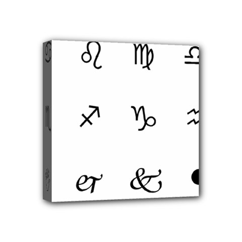 Set Of Black Web Dings On White Background Abstract Symbols Mini Canvas 4  X 4  by Amaryn4rt