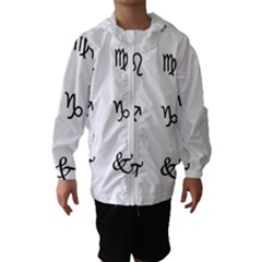 Set Of Black Web Dings On White Background Abstract Symbols Hooded Wind Breaker (kids) by Amaryn4rt