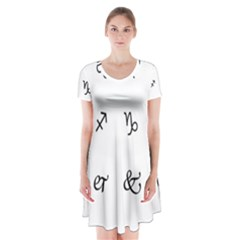 Set Of Black Web Dings On White Background Abstract Symbols Short Sleeve V Neck Flare Dress by Amaryn4rt