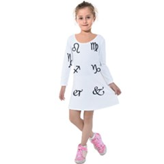 Set Of Black Web Dings On White Background Abstract Symbols Kids  Long Sleeve Velvet Dress by Amaryn4rt