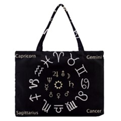 Astrology Chart With Signs And Symbols From The Zodiac Gold Colors Medium Zipper Tote Bag by Amaryn4rt