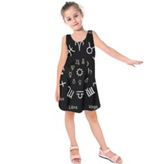 Astrology Chart With Signs And Symbols From The Zodiac Gold Colors Kids  Sleeveless Dress by Amaryn4rt