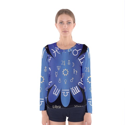 Astrology Birth Signs Chart Women s Long Sleeve Tee by Amaryn4rt