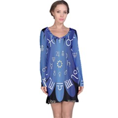 Astrology Birth Signs Chart Long Sleeve Nightdress by Amaryn4rt