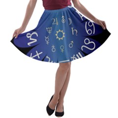 Astrology Birth Signs Chart A Line Skater Skirt by Amaryn4rt