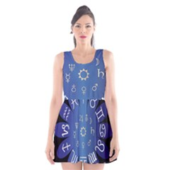 Astrology Birth Signs Chart Scoop Neck Skater Dress by Amaryn4rt