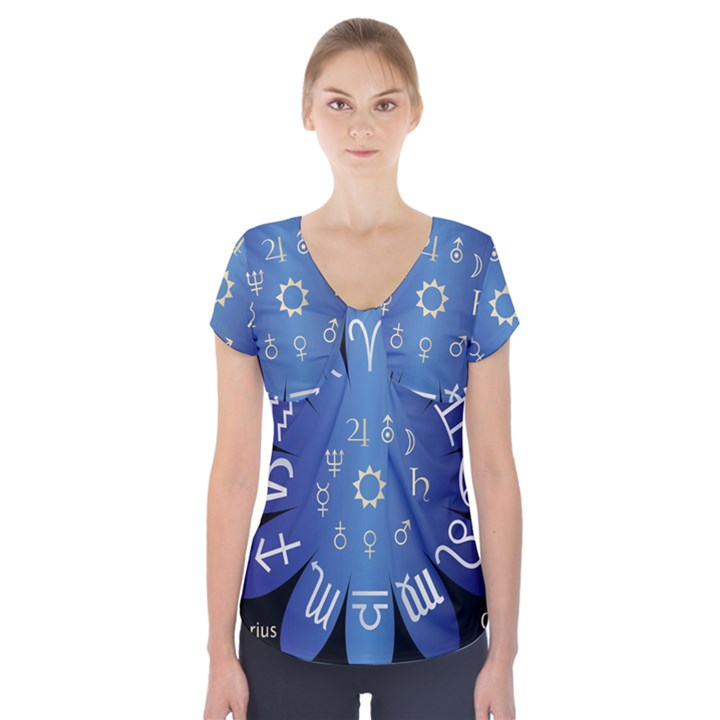 Astrology Birth Signs Chart Short Sleeve Front Detail Top