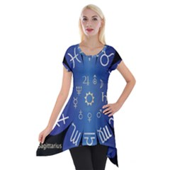 Astrology Birth Signs Chart Short Sleeve Side Drop Tunic by Amaryn4rt