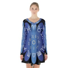 Astrology Birth Signs Chart Long Sleeve Velvet V Neck Dress by Amaryn4rt