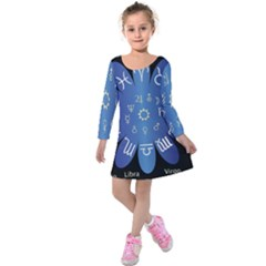 Astrology Birth Signs Chart Kids  Long Sleeve Velvet Dress by Amaryn4rt