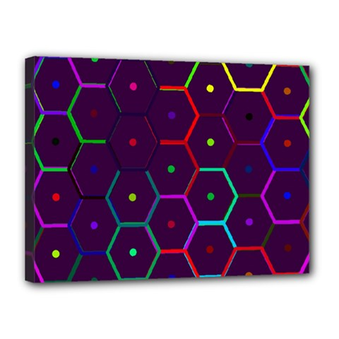 Color Bee Hive Pattern Canvas 16  X 12  by Amaryn4rt