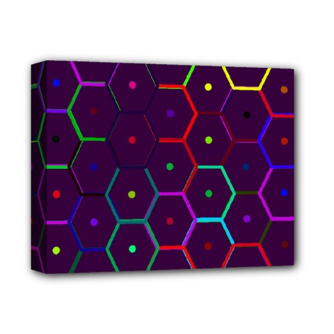 Color Bee Hive Pattern Deluxe Canvas 14  X 11  by Amaryn4rt