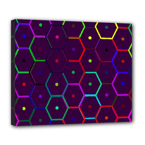 Color Bee Hive Pattern Deluxe Canvas 24  X 20   by Amaryn4rt